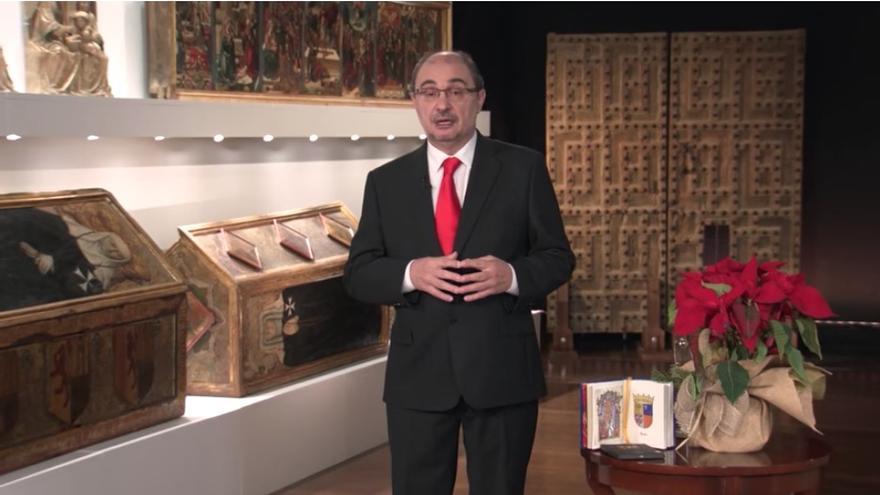 Javier Lambán durante su mensaje de Fin de Año en el Monasterio de Sijena