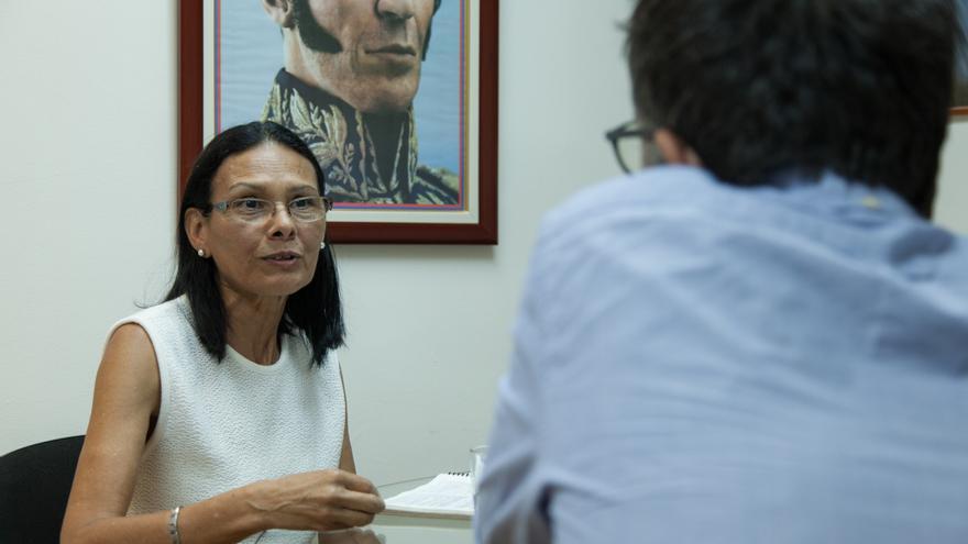 Socorro Hernández, presidenta del Consejo Electoral de Venezuela en la entrevista con eldiario.es.