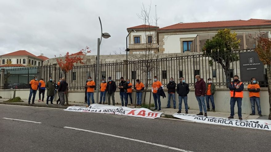 Protesta de trabajadores de Alu Ibérica