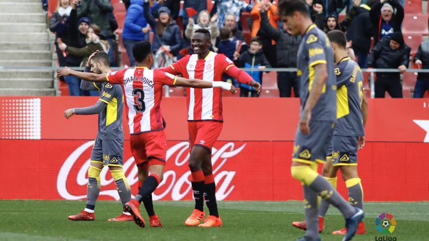 El Girona celebra uno de los seis goles marcados a la UD Las Palmas.