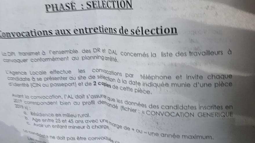 """El documento en el que ANAPEC, la oficina de empleo marroquí, explica el """"perfil demandado"""" para los trabajos ofertados."""