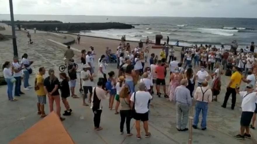 Concentración contra el uso de mascarillas en Las Palmas de Gran Canaria