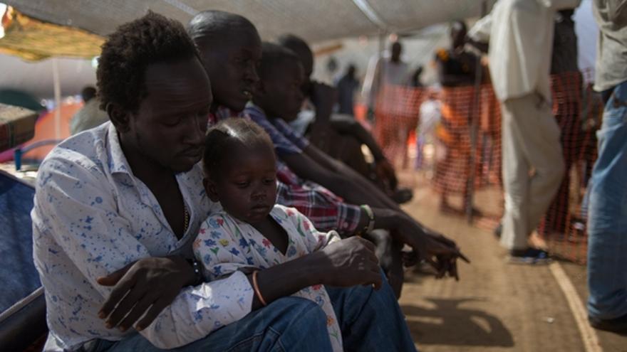 En Juba, unas 40,000 personas se han refugiado en dos terrenos de Naciones Unidas que están completamente atestados. Allí, los equipos de Médicos Sin Fronteras llevan a cabo entre 300 y 500 consultas médicas por día, la mayor parte de ellas relacionadas con casos de diarrea, malaria e infecciones respiratorias./ MSF