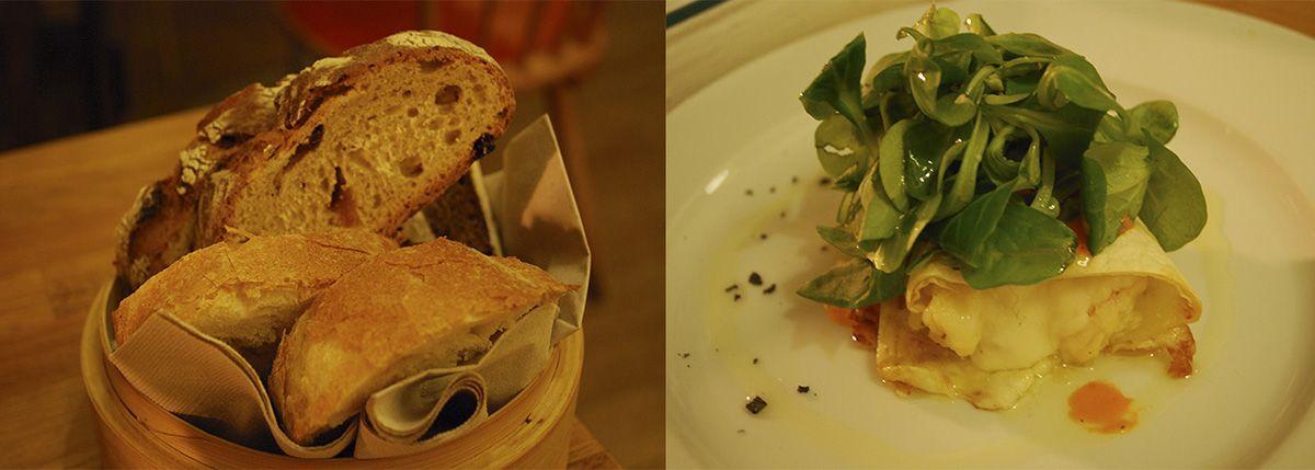 Pan y quesadillas con langostino y salsa de pimiento rojo italiana