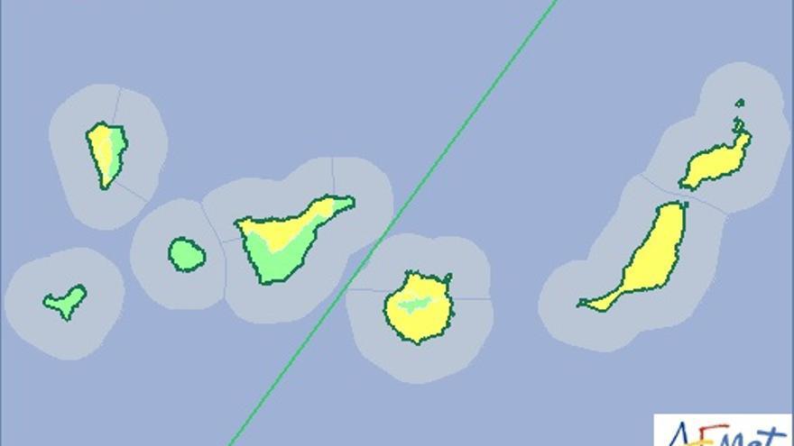 Mapa de aviso de riesgo por fuertes vientos de la Aemet para este vierne, 15 de mayo.