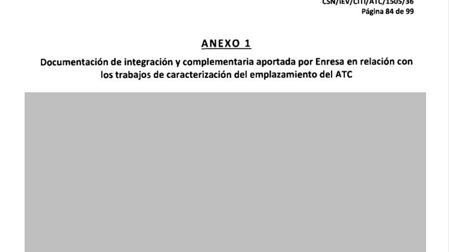 Ejemplo de información técnica tachada al completo por el CSN