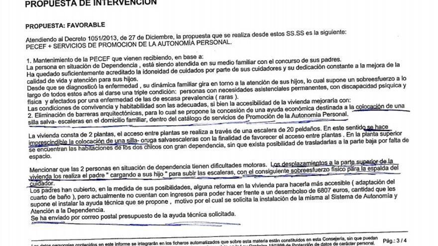Extracto del informe de la trabajadora social facilitado por la Plataforma en Defensa de la Ley de Dependencia