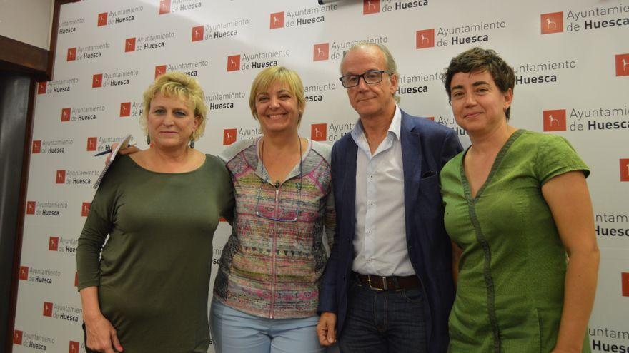 Los cuatro concejales/as de Cambiar Huesca en el Ayuntamiento oscense