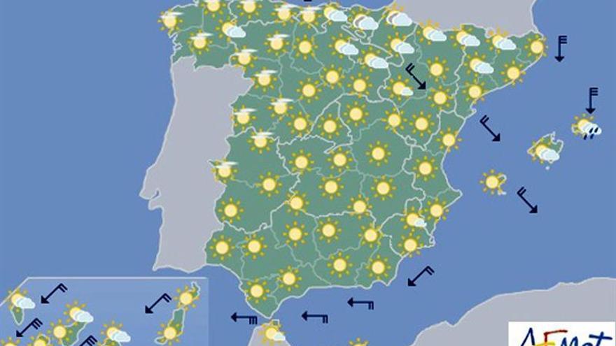 Hoy, pocas nubes en la mayor parte de España y temperaturas al alza