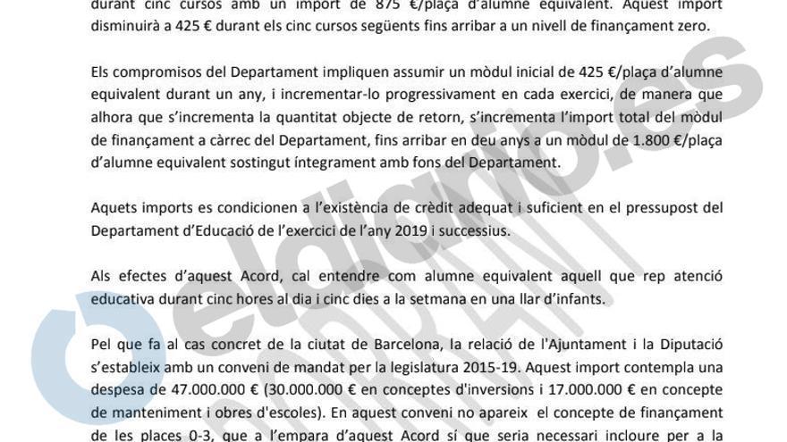 Borrador del acuerdo marco para refinanciar las escuelas infantiles en Catalunya