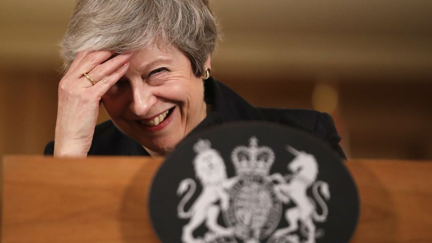 Prime Minister Theresa May reacts during a press conference at 10 Downing Street, London, to discuss her Brexit plans.