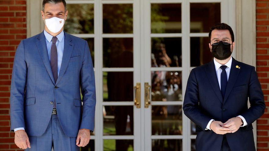 Pedro Sánchez y Pere Aragonès, antes de la reunión que mantuvieron en junio.