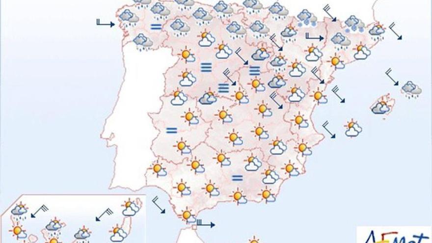 Viento fuerte en el noreste y en Canarias y lluvias en los Pirineos