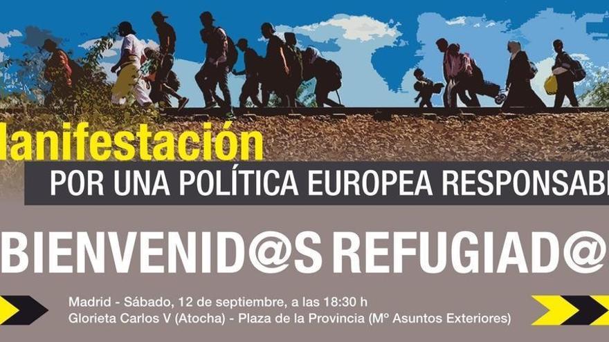 Cartel de la manifestación de Madrid en apoyo a una política responsable con los refugiados.