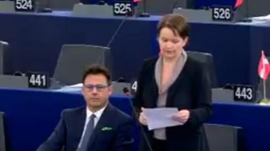 La eurodiputada de Liga Norte Mara Bizzotto durante un momento de su intervención en el Parlamento Europeo.