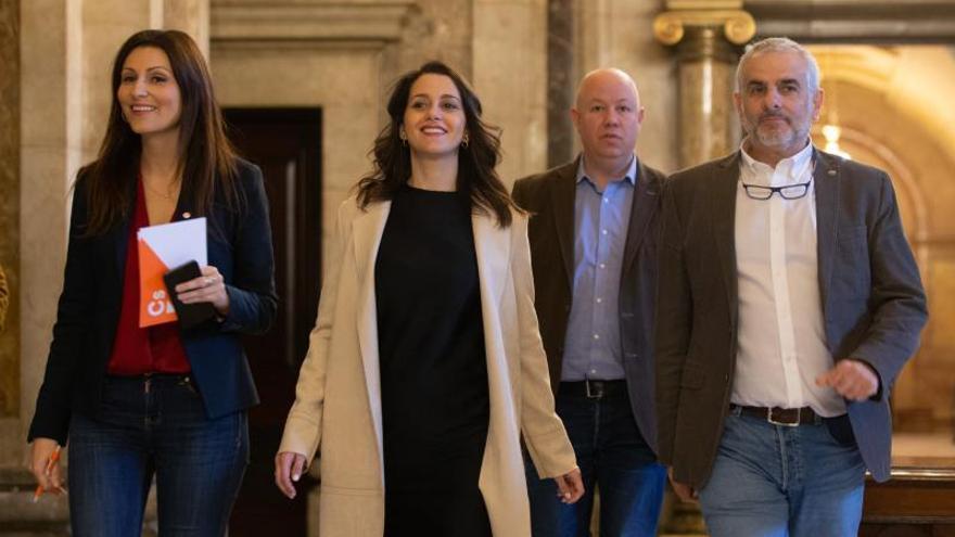 Arrimadas junto a la dirección de Ciudadanos en Catalunya, Lorena Roldán y Carlos Carrizosa