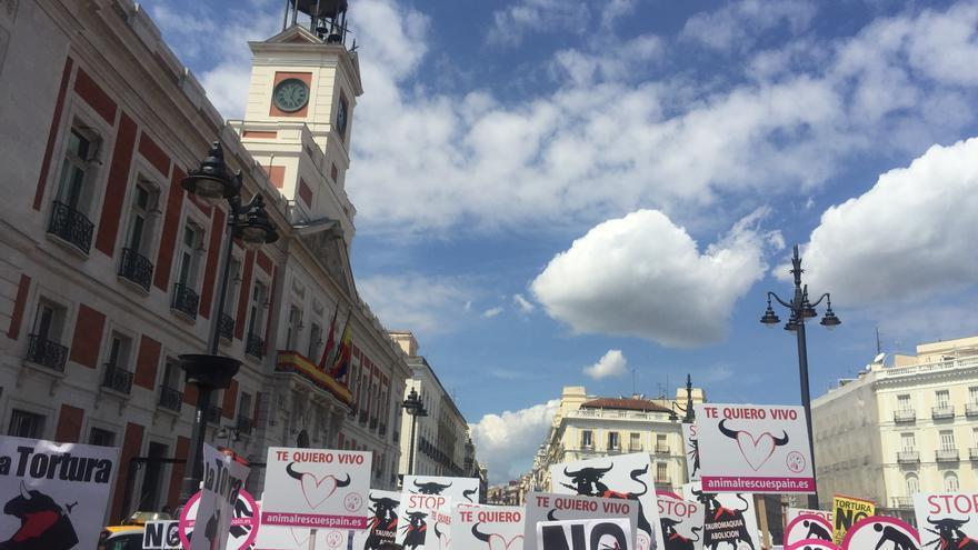 Manifestación antitaurina celebrado el 27 de mayo de 2018.