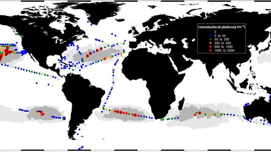 Concentraciones de plásticos en la superficie martítima /CSIC.