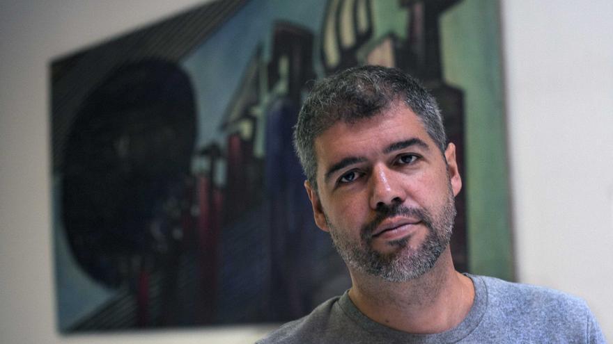 Unai Sordo, líder de CC OO-Euskadi, tras la entrevista.