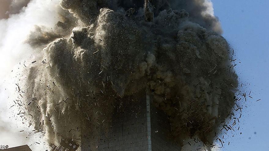 Colapso de una de las torres del World Trade Center.