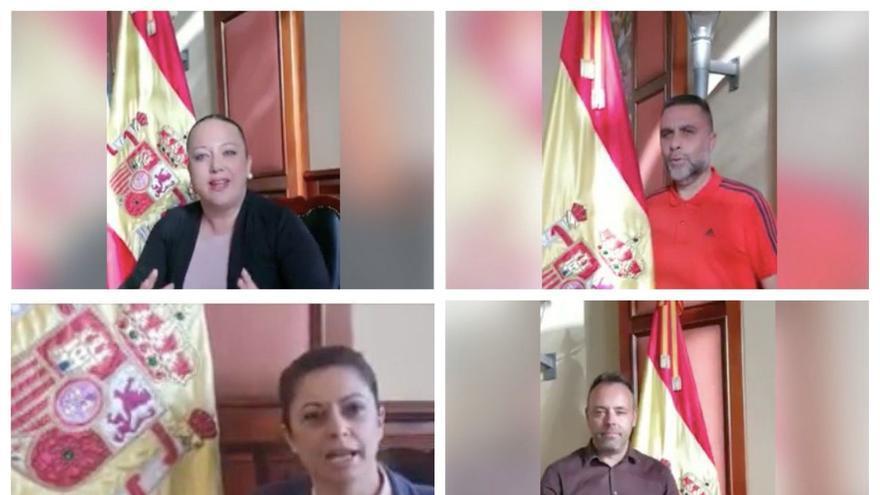 Cinco de los concejales del PP en el Ayuntamiento de Los Realejos que grabaron el vídeo en el salón de plenos