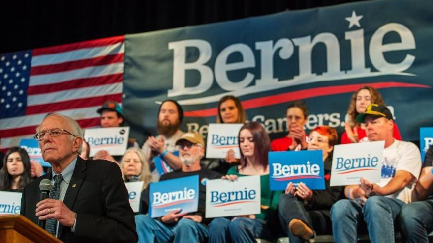 El candidato demócrata Bernie Sanders durante un evento el pasado 5 de febrero Derry, New Hampshire, Estados Unidos