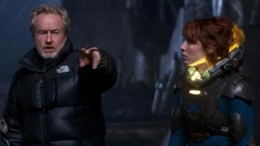 Ridley Scott en el rodaje de Prometheus