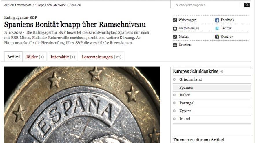 Artículo del 'Frankfurter Allgemeine Zeitung' sobre la calificación de S&P.