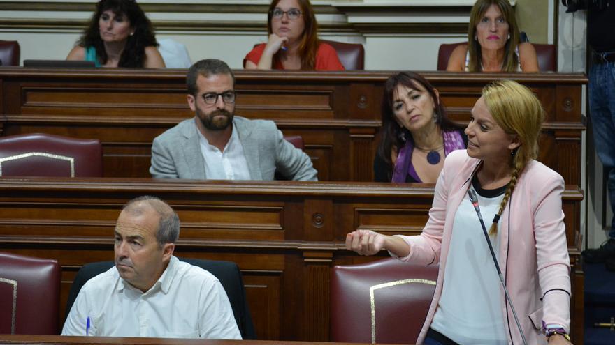La diputada canaria de Podemos Noemí Santana durante un pleno del Parlamento canario