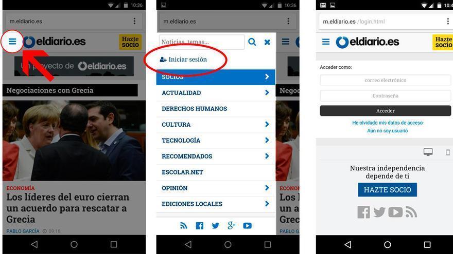 ¿Cómo iniciar sesión en la versión móvil de eldiario.es?