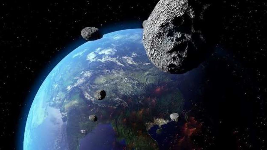 Simulación de un asteroide en trayectoria de colisión con la Tierra