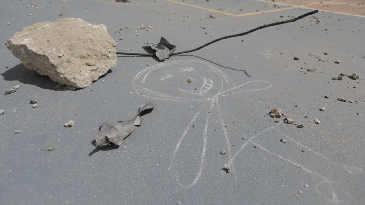Una de las escuelas de la Agencia de Naciones Unidas para los Refugiados y Refugiadas de Palestina afectada por la ofensiva de mayo en Gaza