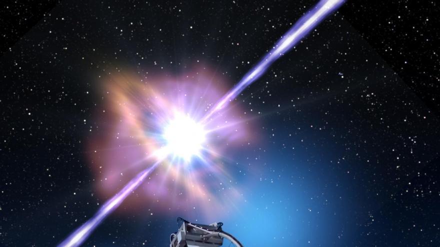 Representación artística del primer estallido de rayos gamma en altas energías detectado por MAGIC. Crédito: Gabriel Pérez Díaz (IAC)