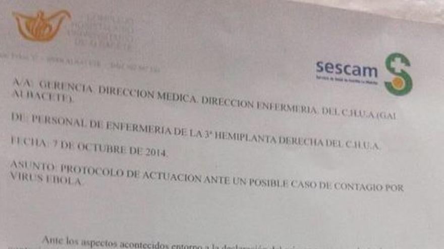Carta de enfermeros de Albacete que no quieren atender ébola