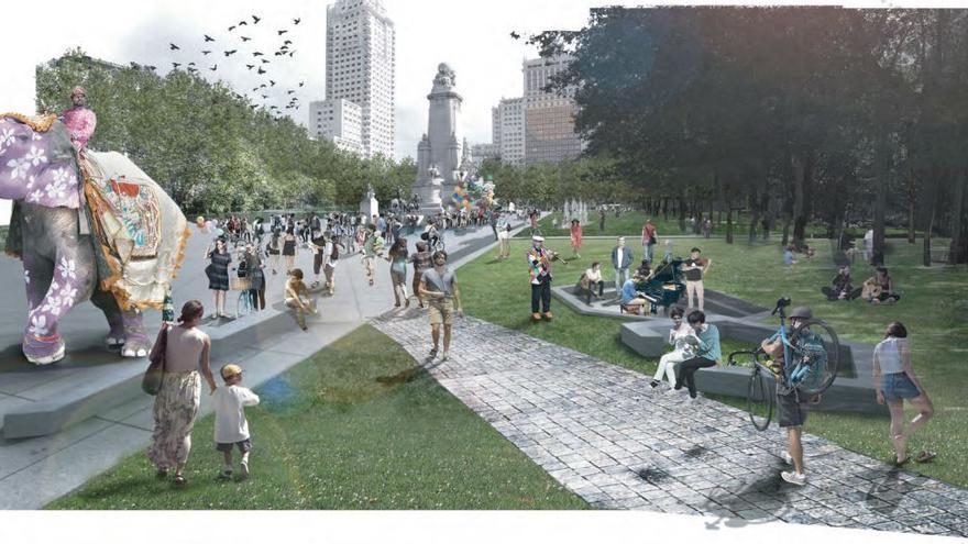 Recreación del proyecto Un paseo por la cornisa para la Plaza de España de Madrid.