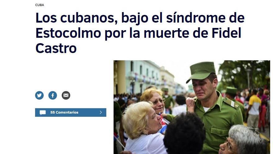 Titular de El Mundo tras la muerte de Fidel Castro.