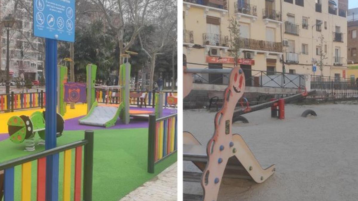 Nuevo parque infantil de la Avenida del General Perón y zona de columpios de la Plaza del Poeta Leopoldo de Luis