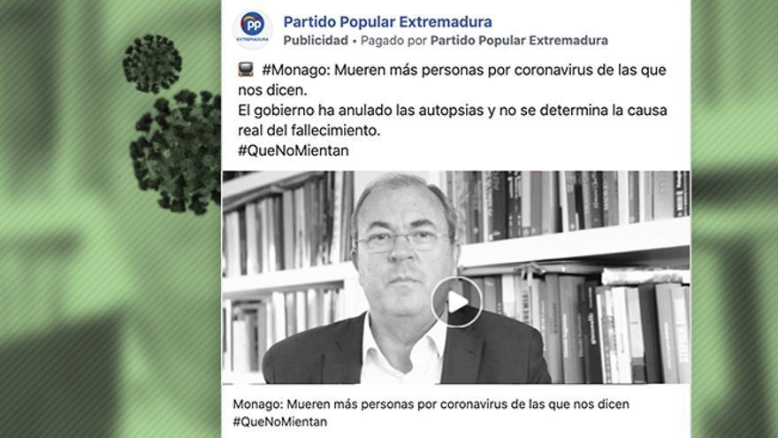 Uno de los anuncios del PP de Extremadura en los que acusan al Gobierno de falsear los datos de fallecidos de coronavirus