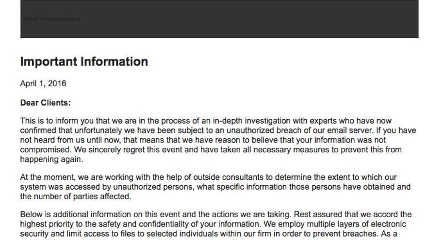 El correo que envió Mossack Fonseca a sus clientes por los papeles de Panamá