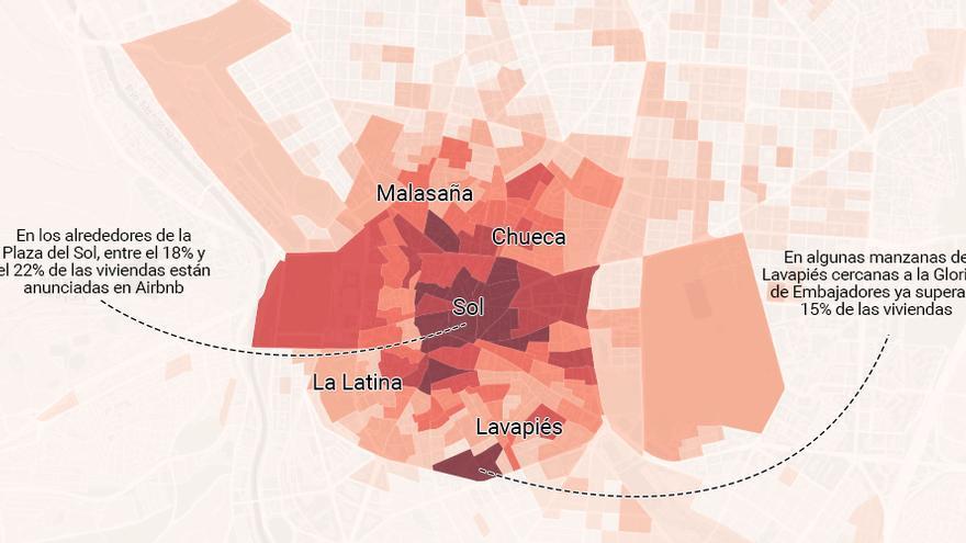 ¿Cuántas viviendas de tu barrio están en Airbnb? Descúbrelo en este mapa, manzana a manzana