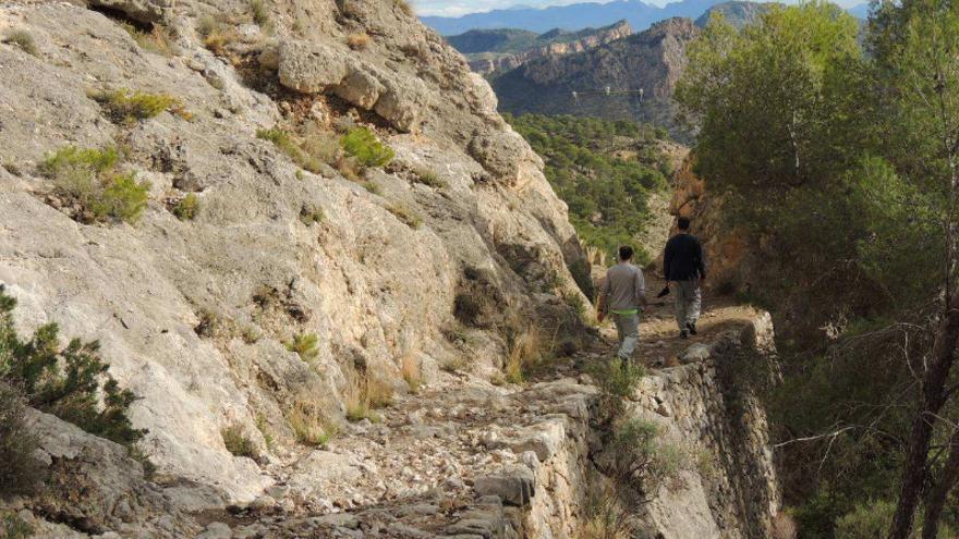 Muros de mampostería en la senda forestal (Murcia)