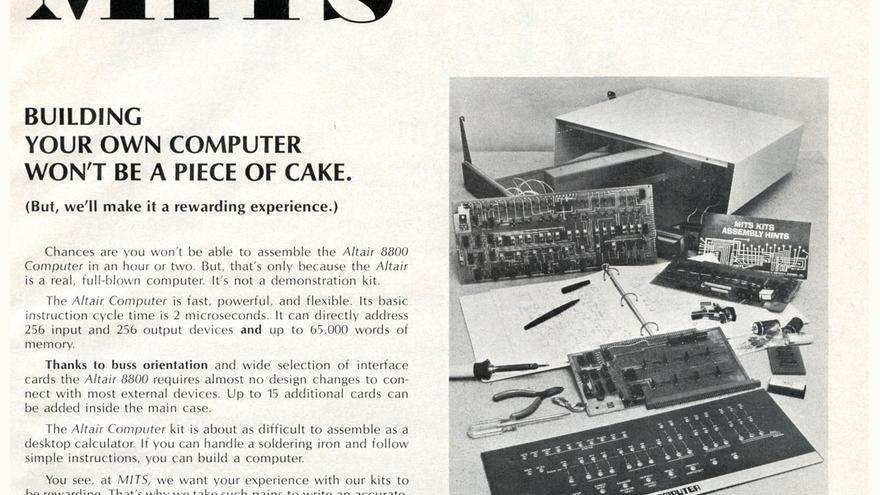 """""""Construir tu propio ordenador no será pan comido"""", reza el folleto del Altair 8800"""