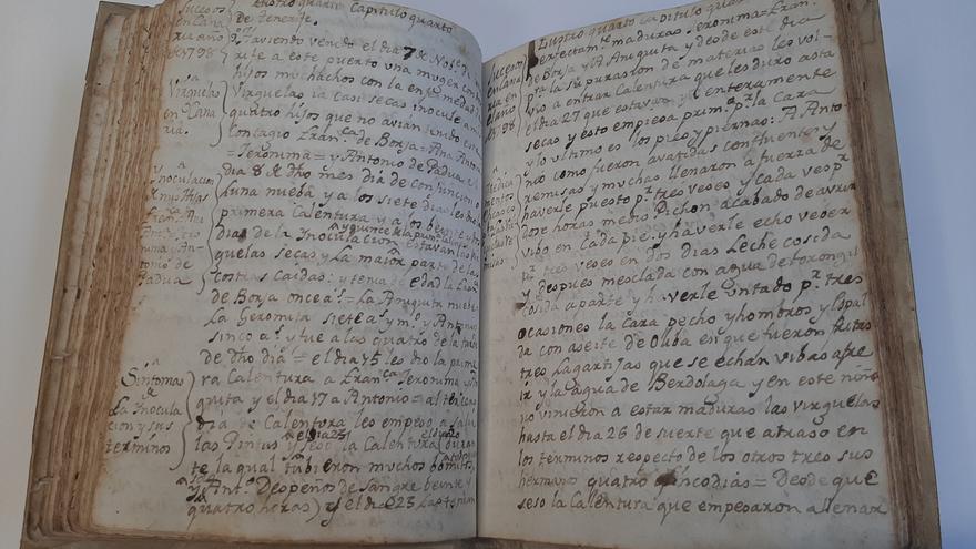 Uno de los documentos expuestos en el Museo Canario sobre las enfermedades que han asolado Gran Canaria en el pasado