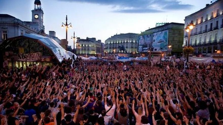 Concentración del 15M en el centro de Madrid, en la plaza de Sol