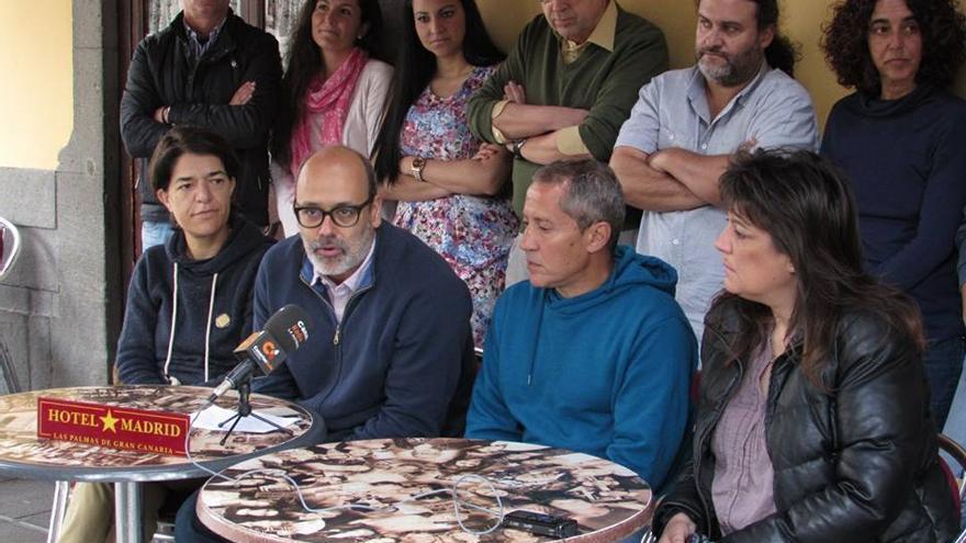 Los miembros de Contigo Podemos, en la rueda de prensa de este jueves.