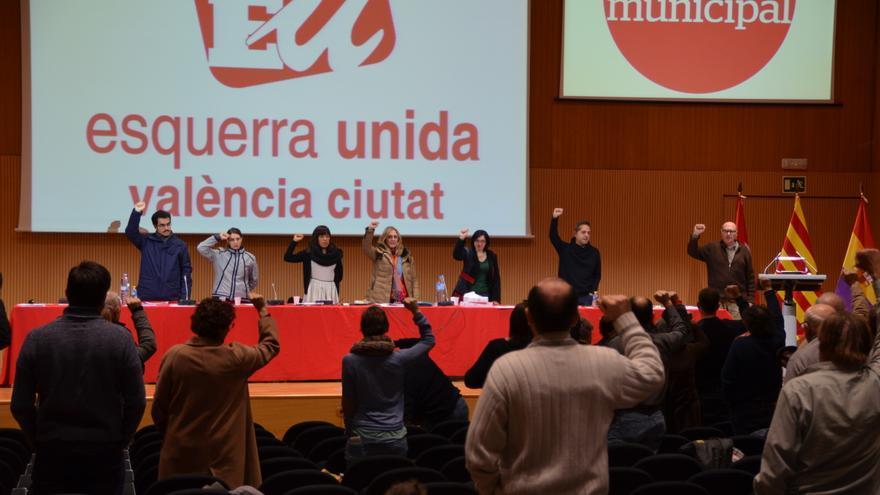 Asamblea de EU tras la celebración de las primarias del partido en Valencia.