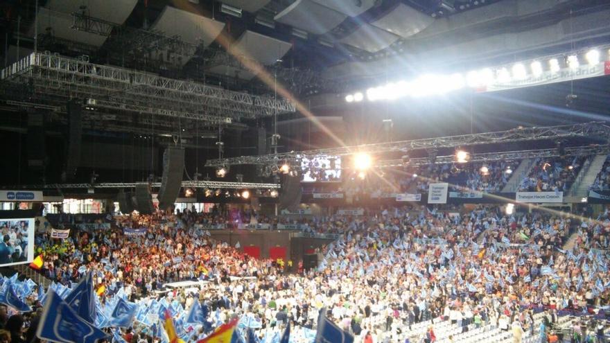 Rajoy, Aguirre y Cifuentes llenan el Palacio de los Deportes pero no a reventar como hace cuatro años