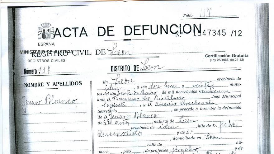 Acta de defunción de Genaro Blanco, atropellado mortalmente un 29 de marzo de 1929, hoy conocido como 'Genarín'