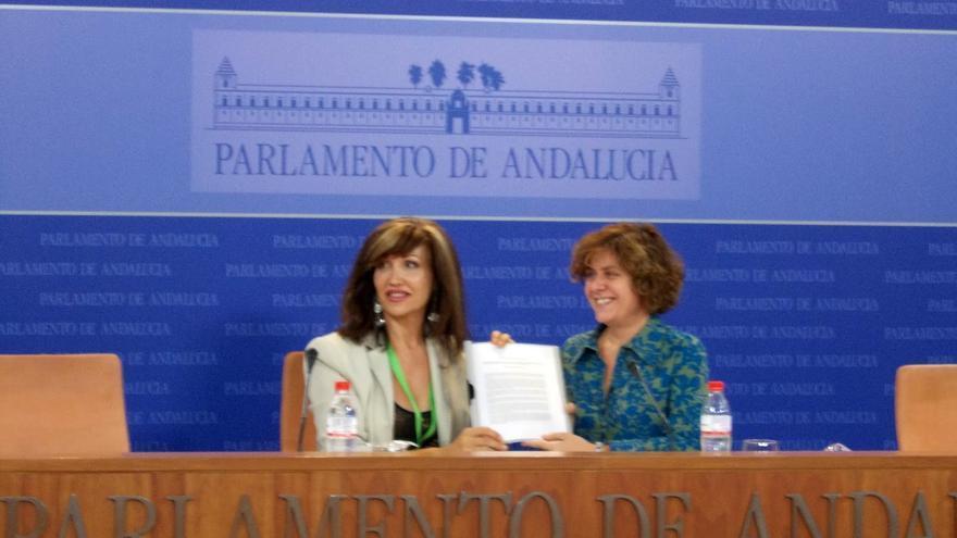 La presidenta de la Asociación de Transexuales de Andalucía, Mar Cambrollé, y la portavoz adjunta del grupo parlamentario de IULV-CA, Alba Doblas, presentaron el proyecto de ley integral el 17 de octubre de 2012.