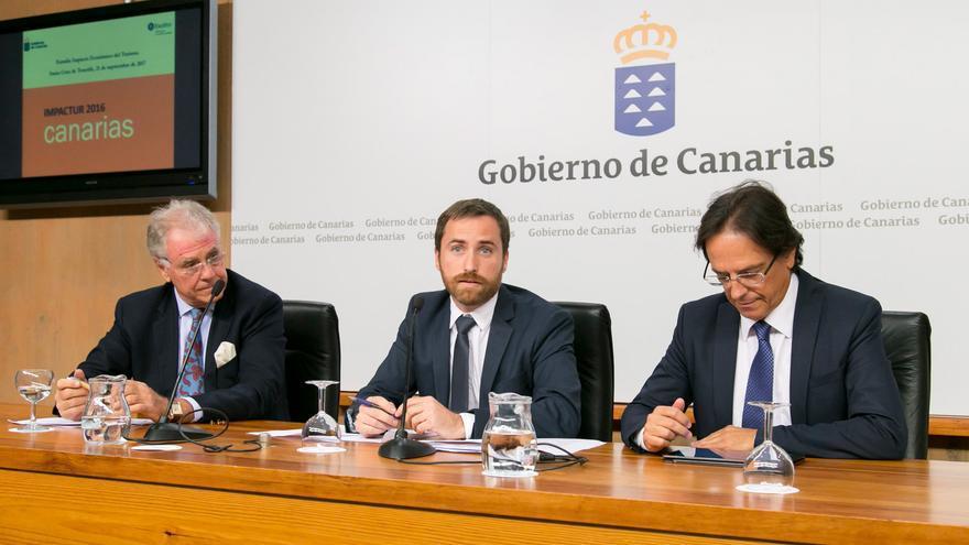 El vicepresidente de Exceltur, José Luis Zoreda; el consejero de Turismo, Isaac Castellano; y el viceconsejero de Turismo, Cristóbal de la Rosa